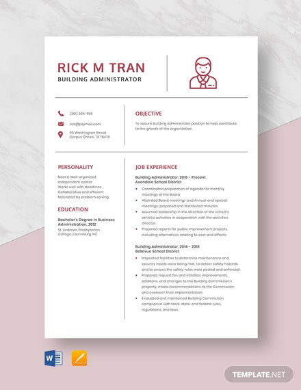Building Administrator Resume Template