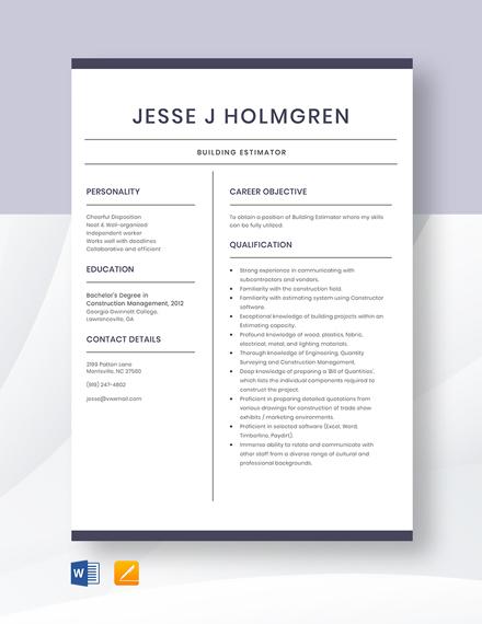 Building Estimator Resume Template