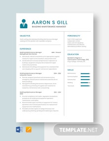 Building Maintenance Manager Resume Template