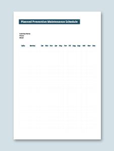 Planned Preventive Maintenance Schedule Template