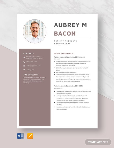 Patient Accounts Coordinator Resume Template