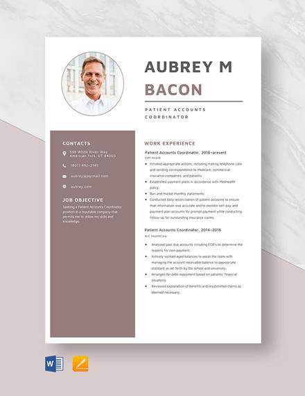 Patient Accounts Coordinator Resume Template