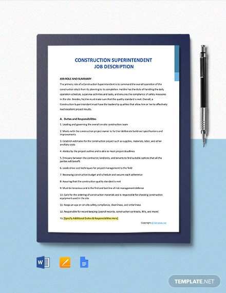 Free Construction Superintendent Job Ad and Description Template