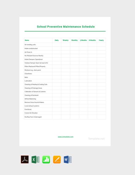 Free Sample Preventive Maintenance Schedule Template