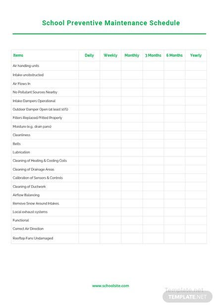 Sample Preventive Maintenance Schedule Template