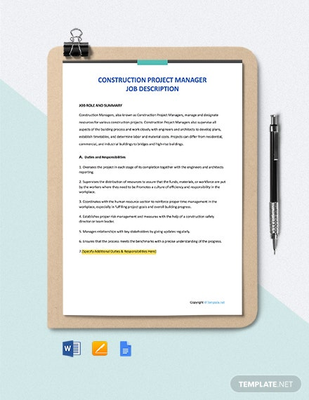 Free Construction Project Manager Job Ad and Description Template