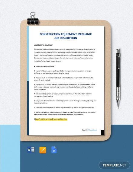 Free Construction Equipment Mechanic Job Description Template