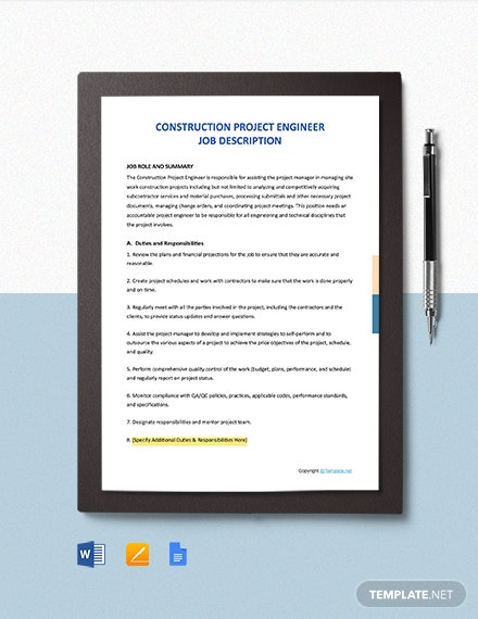 Free Construction Project Engineer Job Ad/Description Template