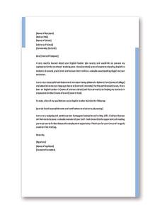 English Teacher Job Application Letter Template
