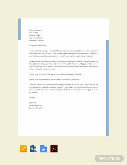 Free English Teacher Job Application Letter Template Pdf