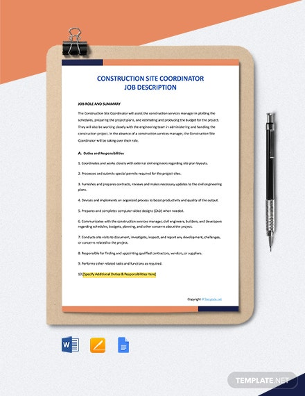 Free Construction Site Coordinator Job Description Template