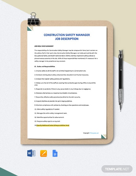 Free Construction Safety Manager Job Description Template