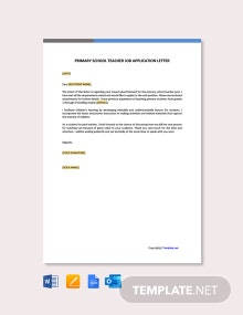 Free Primary School Teacher Job Application Letter Template