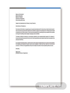 Primary School Teacher Job Application Letter Template