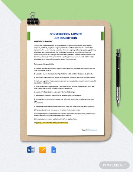 Free Construction Lawyer Job Description Template