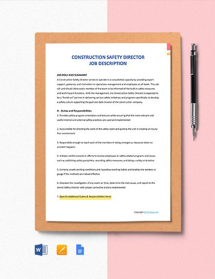 Free Construction Safety Director Job Description Template