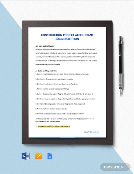 Free Construction Project Accountant Job Description Template