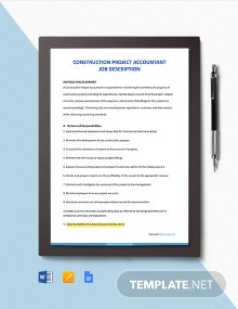Free Construction Project Accountant Job Description Template