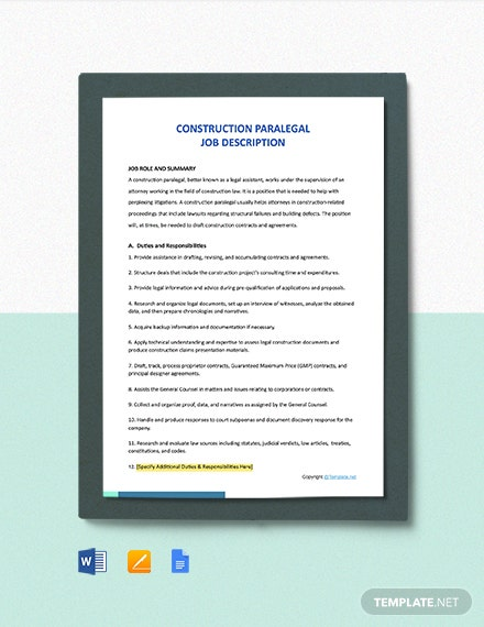 Free Construction Paralegal Job Ad/Description Template
