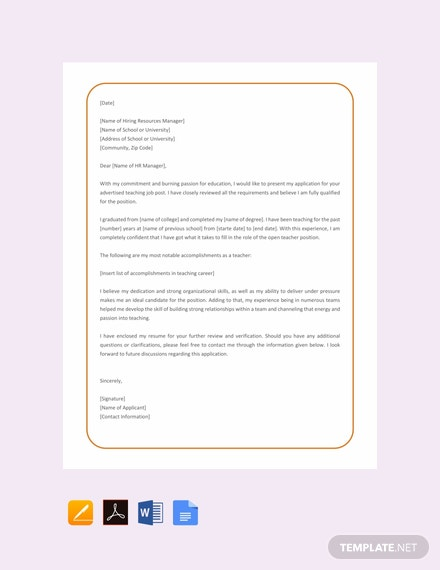 30 free job application letter templates download ready made