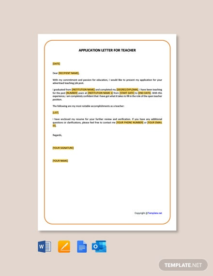 Simple Application Letter for Teacher Job Template