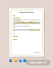 Free Simple Application Letter for Teacher Job Template