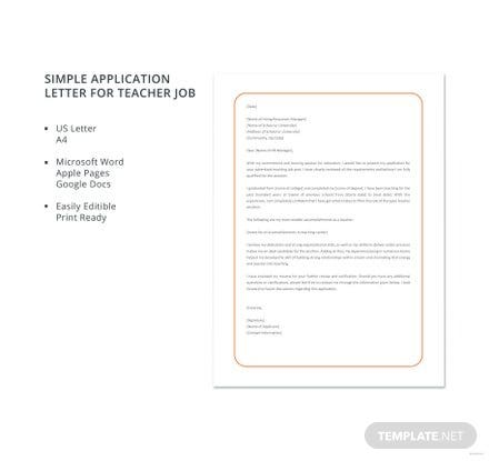 Free Simple Application Letter for Teacher Job Template