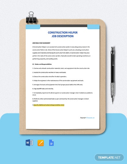Free Construction Helper Job Ad/Description Template