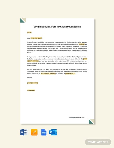 Construction Safety Manager Cover Letter Template