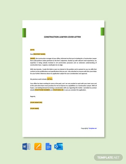 Construction Lawyer Cover Letter Template