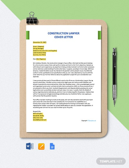 Free Construction Lawyer Cover Letter Template