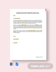 Free Construction Safety Director Cover Letter Template