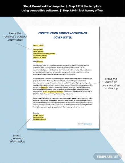 Free Construction Project Accountant Cover Letter download