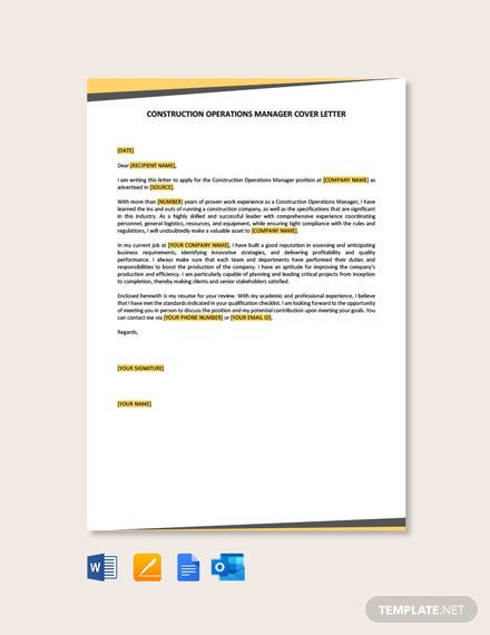 Free Construction Operations Manager Cover Letter Template