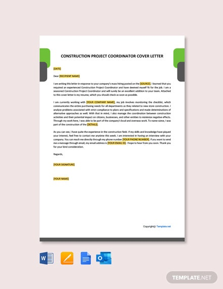 Free Construction Project Coordinator Cover Letter Template