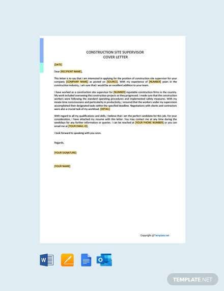Free Construction Site Supervisor Cover Letter Template