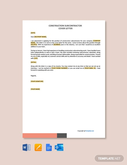 Construction Subcontractor Cover Letter Template