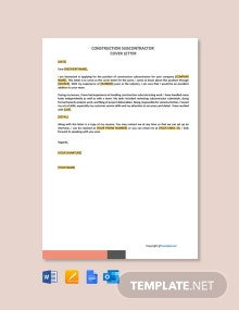 Free Construction Subcontractor Cover Letter Template