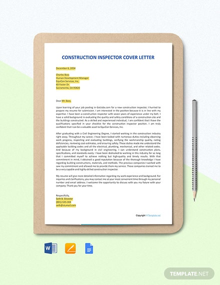 FREE Construction Inspector Cover Letter Template
