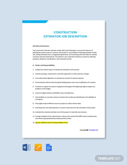 Free Construction Estimator Job Ad/Description Template