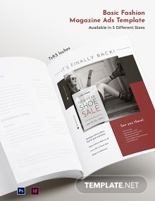 Free Basic Fashion Magazine Ads Template