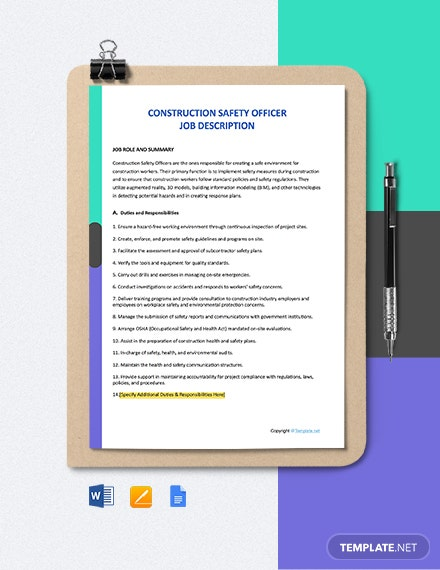 Free Construction Safety Officer Job Ad and Description Template