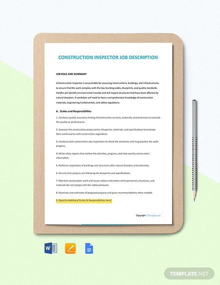 Free Construction Inspector Job Ad/Description Template