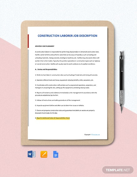 Free Construction Laborer Job Description Template