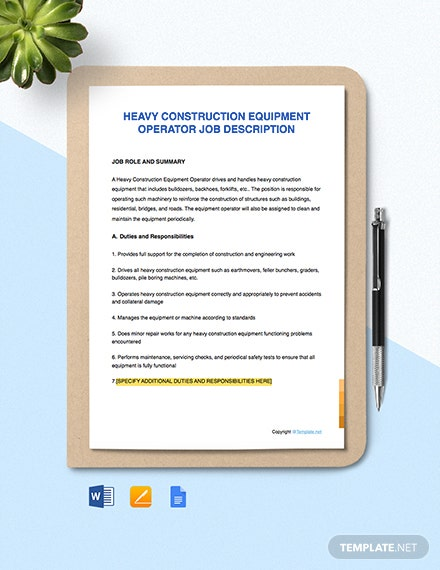 Free Heavy Construction Equipment Operator Job Description Template