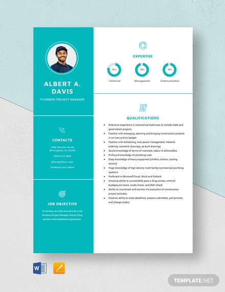 Plumbing Project Manager Resume Template