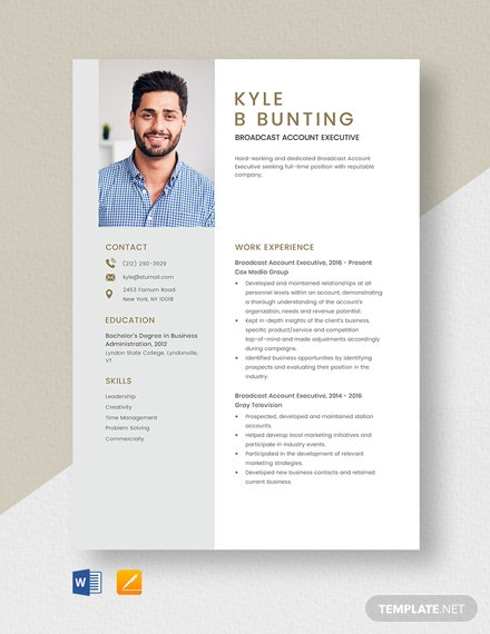 Broadcast Account Executive Resume Template
