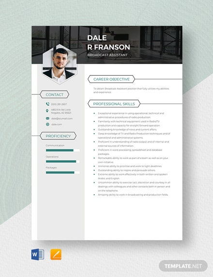 Broadcast Assistant Resume Template