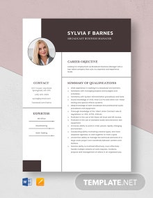 Broadcast Business Manager Resume Template