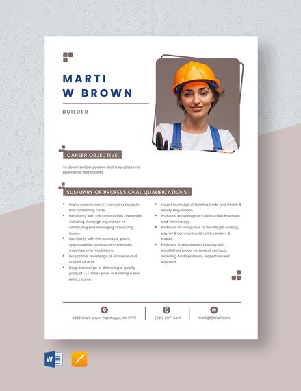 Builder Resume Template